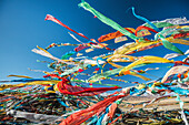 'Colourful Tibetan prayer flags (Lung ta) under the strong wind with white mountain tops in the background; Qinghai province, Tibet'