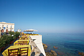 'Gallipoli seaside cafe; Salento, Italy'