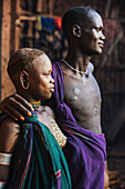 'Young Suri couple, Omo region, Southwest Ethiopia; Kibish, Ethiopia'