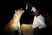 'Hyenas are fed nightly by hand just outside the old city walls; Harar, Ethiopia'