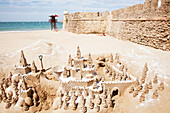 'Ornate detail of a castle built in the sand; Cadiz, Andalusia, Spain'