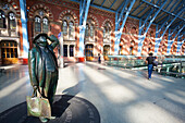 'St. Pancras Railway Station and statue; London, England'
