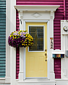'Colourful facade of a house and front door; St. John's, Newfoundland, Canada'