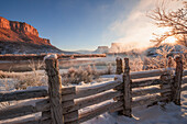 'First light hits canyon floor along the Colorado Riverway Recreation Area near Moab; Utah, United States of America'