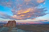 'Sunset and mesa formation, Glen Canyon National Recreation Area; Arizona, United States of America'