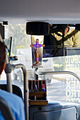 'Transit bus in Mexico with Christian crucifix in the front window; Guanajuato, Mexico'