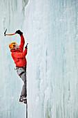 'Ice climbing; Saint Sylvere, Quebec, Canada'
