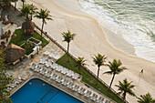 'Early morning view of the pool and beach at Sheraton hotel, Leblon; Rio de Janeiro, Brazil'