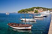 'Small boats moored in Cavtat harbour; Cavatat, Dalmatia region, Croatia'