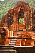 'Temple under restoration at My Son, the remains of the kingdom of Champa, now a UNESCO World Heritage site, near Hoi An; Vietnam'