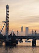 'Millenium Wheel at sunset; London, England'