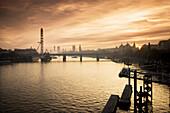 'Millenium Wheel with Big Ben in the skyline; London, England'