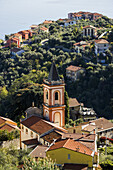 'High angle view of a church and houses; La Spezia, Liguria, Italy'