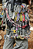 'Rock climbing equipment in the Adirondacks; New York, USA'