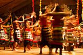Dancers in a Kecak Dance performance telling a story of the Ramayana by the Sahadewa Dance Group, Batubulan, Bali, Indonesia
