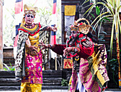 Balinese dancer using codified hand positions and gestures at a Barong dance performance in Batubulan, Bali, Indonesia