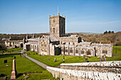 'St. David's Cathedral, built in its present form in 1181, with Bishops Palace in background; St. David, Pembrokeshire, Wales'