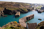 'Porthgain harbour on Pembrokeshire Coast Path, South West Wales; Pembrokeshire, Wales'