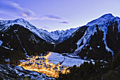 'Village of Cogne at dusk, Gran Paradiso National Park; Cogne, Italy'