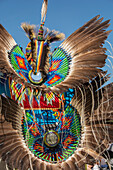 'Native American headdress of colourful beads and feathers; Calgary, Alberta, Canada'