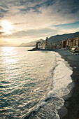 The Italian Riveria town of Camogli at sunset offers visitors stunning Mediterranean seascapes. The Italian Riveria represents the simple life of the ocean.