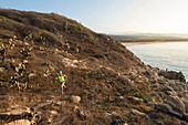 A woman trail running wearing a green shirt near Puerto Escondido at the coast of Oaxaca, Mexico.