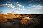 The rugged badlands of Dinosaur Provincial Park in Alberta, on the Canadian prairies.
