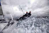 'Yvan Bourgnon and Joris Cocaud training before the attempt of the around Corsica Island record on the Nacra F20 Carbon ''Atlantis Television'', Porticcio, Corsica, France.'