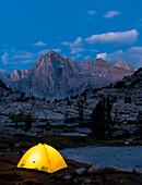 Glowing tent below Picture Peak