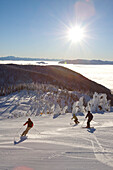 Skiers on fresh groomed slopes in Whitefish, Montana.
