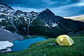 A campsite above lower blue lake in the Sneffels Wilderness area near Ouray Colorado.