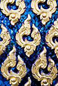 Thailand, Bangkok, Wat Pho, Detail Of Temple, Blue With Golden Shapes.
