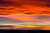 'Dramatic fiery sunset with orange and red clouds and mountains in the distance; Calgary, Alberta, Canada'