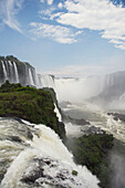 'Iguacu Falls in Brazil in the foreground and Argentina seen beyond the river; Brazil'