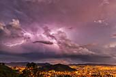 'Lightning in the night skies above the city of Cochabamba; Cochabamba, Bolivia'