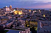 'Genoa port at sunset; Genoa, Liguria, Italy'