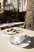 'Cappuccino served on a table; Porto Venere, Liguria, Italy'