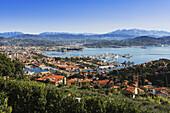 'Cityscape on the Italian Riviera; La Spezia, Liguria, Italy'