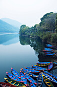 'Boats in the famous Pokhara lake; Pokhara, Nepal'
