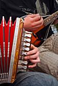 Accordion, ethnic group of musicians, River Emajogi, Tartu, Estonia, Baltic States, Europe