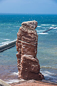 Lange Anna (Long Anna) free standing rock column in Heligoland, small German archipelago in the North Sea, Germany, Europe