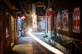 Light trail in an alley at night in Lijiang Old Town, UNESCO World Heritage Site, Lijiang, Yunnan, China, Asia