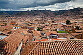 View over the rooftops of Cuzco from San Blas neighbourhood, Cuzco, UNESCO World Heritage Site, Peru, South America