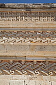 Walls of mosaic fretwork and geometric designs, Mitla Archaeological Site, San Pablo de Mitla, Oaxaca, Mexico, North America