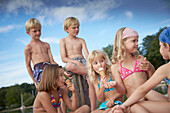 Children eating ice cream, lake Starnberg, Upper Bavaria, Bavaria, Germany