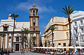 Plaza de la Catedral, square with Cathedral in the historical town of Cadiz, Cadiz Province, Andalusia, Spain, Europe