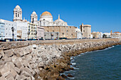 Quai and Cathedral in the historical town of Cadiz, Costa de la Luz, Cadiz Province, Andalusia, Spain, Europe