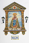 Image of Virgin Mary made of tiles in the historical town of Vejer de la Frontera, Cadiz Province, Costa de la Luz, Andalusia, Spain, Europe