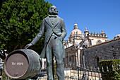 Statue of sherry brand Tio Pepe in front of the cathedral of Jerez de la Frontera, Cadiz Province, Costa de la Luz, Andalusia, Spain, Europe