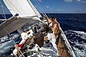 Heeling sailing boat, yacht in the Caribbean Sea